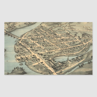 Vintage Pictorial Map of Birmingham CT (1876) Rectangular Sticker