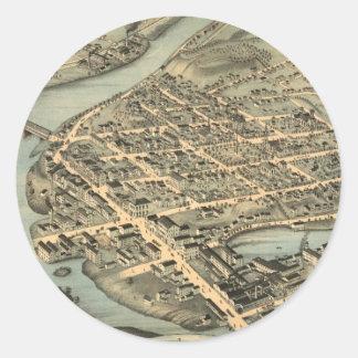 Vintage Pictorial Map of Birmingham CT (1876) Round Sticker