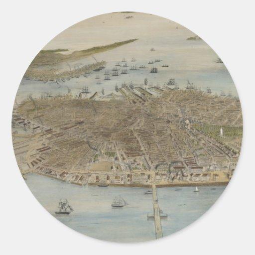 Vintage Pictorial Map of Boston (1870) (2) Round Sticker