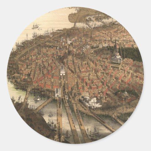 Vintage Pictorial Map of Boston (1877) Round Sticker