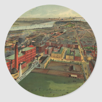 Vintage Pictorial map of Boston (1902) Stickers