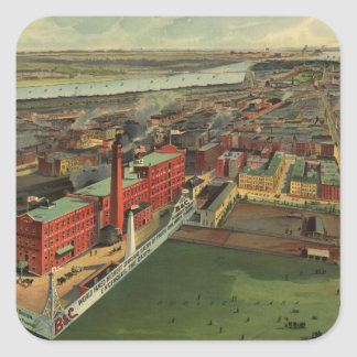 Vintage Pictorial map of Boston (1902) Square Stickers