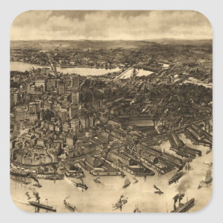 Vintage Pictorial Map of Boston (1905) (2) Square Sticker