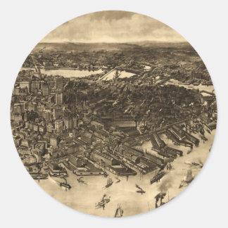 Vintage Pictorial Map of Boston (1905) (2) Sticker