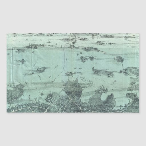Vintage Pictorial Map of Boston Harbor (1897) Rectangle Stickers