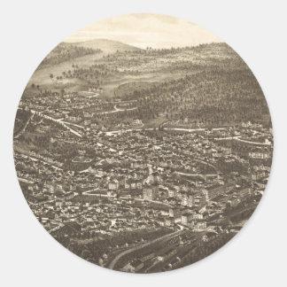 Vintage Pictorial Map of Brattleboro VT (1886) Round Sticker