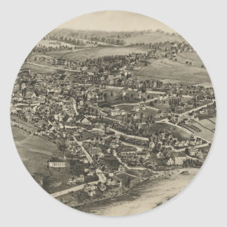 Vintage Pictorial Map of Caribou Maine (1893) Round Sticker