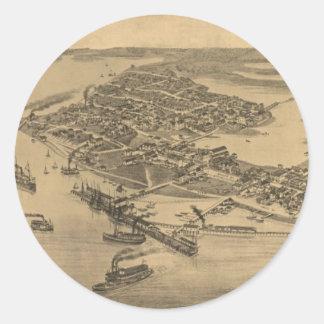 Vintage Pictorial Map of Cedar Key FL (1884) Round Sticker