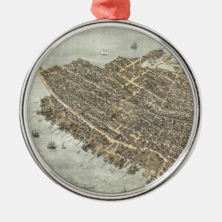 Vintage Pictorial Map of Charleston (1872) Christmas Ornament