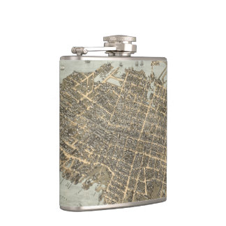 Vintage Pictorial Map of Charleston (1872) Hip Flask
