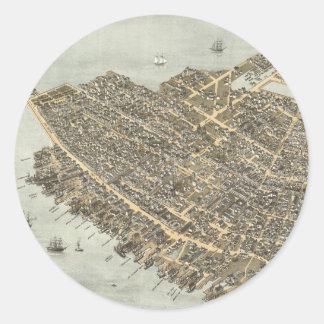 Vintage Pictorial Map of Charleston (1872) Round Sticker