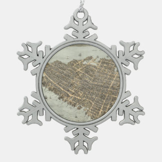 Vintage Pictorial Map of Charleston (1872) Snowflake Pewter Christmas Ornament