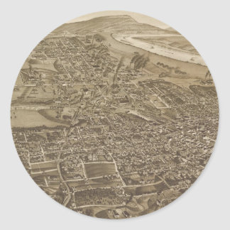 Vintage Pictorial Map of Chattanooga (1886) Classic Round Sticker