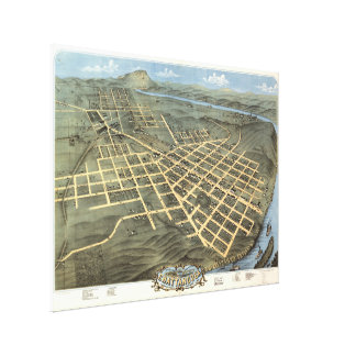 Vintage Pictorial Map of Chattanooga TN (1871) Canvas Print