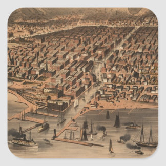 Vintage Pictorial Map of Chicago (1871)(2) Square Sticker