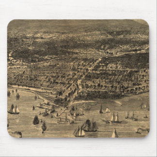 Vintage Pictorial Map of Chicago (1871) Mouse Mat