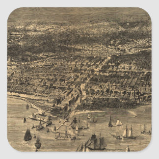 Vintage Pictorial Map of Chicago (1871) Square Sticker