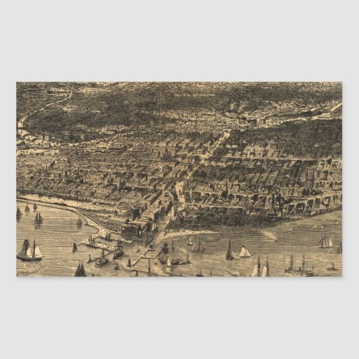 Vintage Pictorial Map of Chicago (1871) Sticker