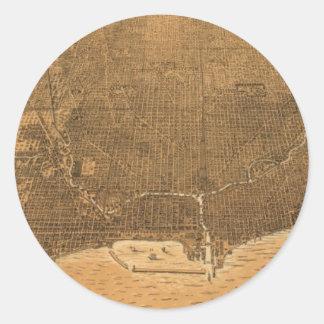Vintage Pictorial Map of Chicago (1892) Round Sticker