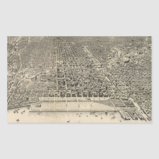 Vintage Pictorial Map of Chicago (1916) Rectangular Sticker