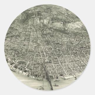 Vintage Pictorial Map of Cincinnati (1900) Classic Round Sticker