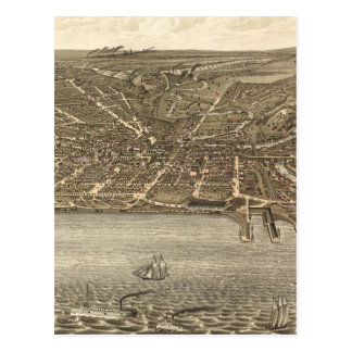 Vintage Pictorial Map of Cleveland (1877) Postcard