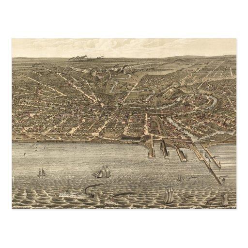 Vintage Pictorial Map of Cleveland (1877) Postcards