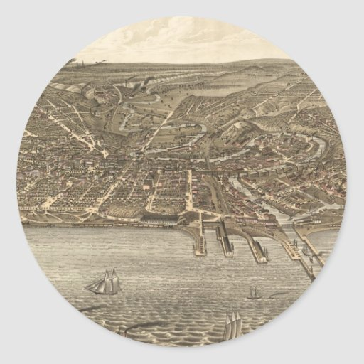 Vintage Pictorial Map of Cleveland (1877) Sticker