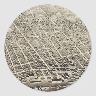 Vintage Pictorial Map of Concord NH (1875) Round Sticker