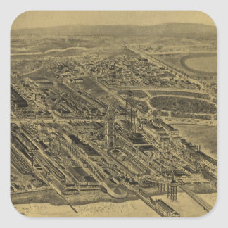 Vintage Pictorial Map of Coney Island (1906) Square Sticker
