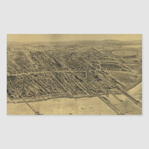 Vintage Pictorial Map of Coney Island (1906) Rectangle Sticker