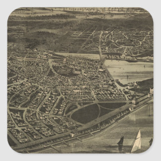 Vintage Pictorial Map of Cottage City (1890) Square Sticker