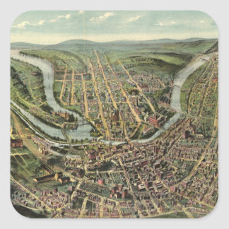 Vintage Pictorial Map of Cumberland MD (1906) Square Sticker