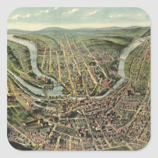 Vintage Pictorial Map of Cumberland MD (1906) Square Stickers
