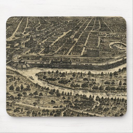 Vintage Pictorial Map of Dallas Texas (1892) Mouse Pads