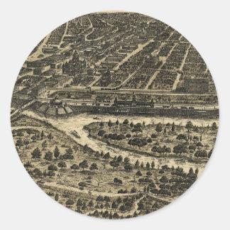 Vintage Pictorial Map of Dallas Texas (1892) Round Sticker