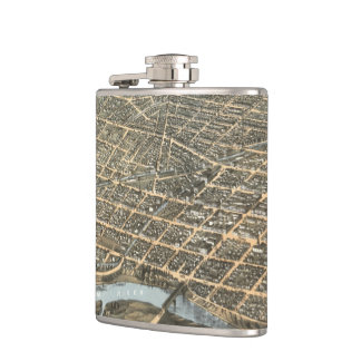 Vintage Pictorial Map of Dayton Ohio (1870) Hip Flask