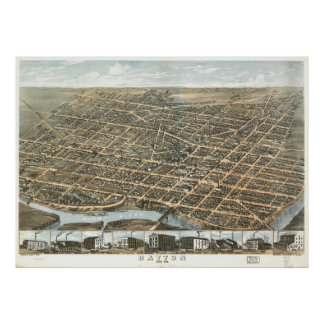 Vintage Pictorial Map of Dayton Ohio (1870) Poster