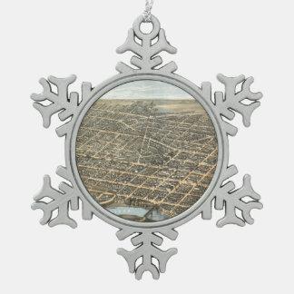 Vintage Pictorial Map of Dayton Ohio (1870) Snowflake Pewter Christmas Ornament
