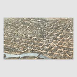 Vintage Pictorial Map of Dayton Ohio (1870) Rectangle Stickers