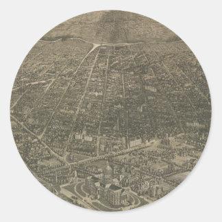 Vintage Pictorial Map of Denver Colorado (1887) Round Sticker