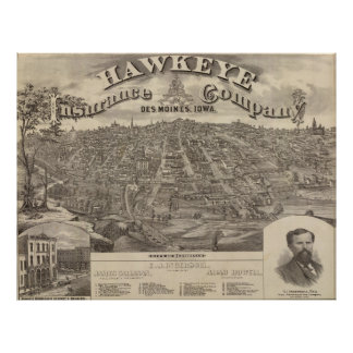 Vintage Pictorial Map of Des Moines Iowa (1875) Poster