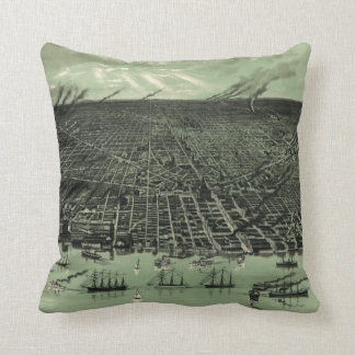 Vintage Pictorial Map of Detroit Michigan (1889) Cushion