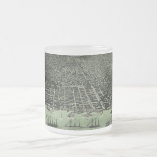Vintage Pictorial Map of Detroit Michigan (1889) Frosted Glass Coffee Mug