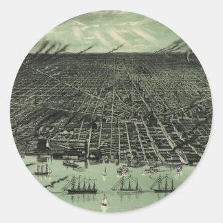 Vintage Pictorial Map of Detroit Michigan (1889) Round Sticker