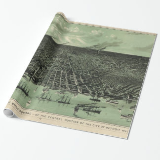 Vintage Pictorial Map of Detroit Michigan (1889) Wrapping Paper