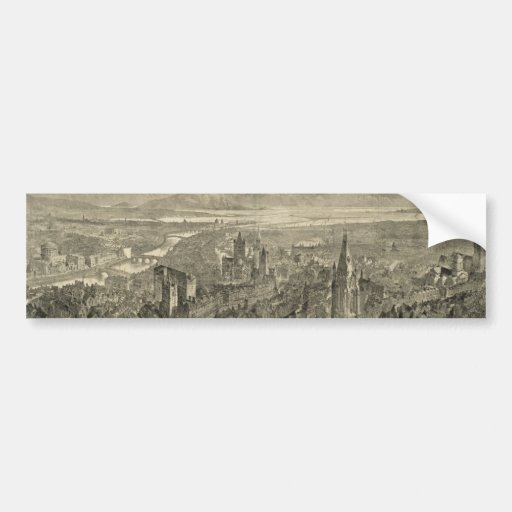 Vintage Pictorial Map of Dublin Ireland (1890) Bumper Stickers