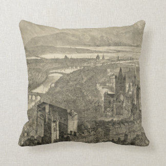 Vintage Pictorial Map of Dublin Ireland (1890) Cushion