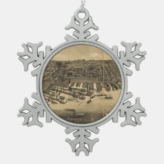 Vintage Pictorial Map of Duluth Minnesota (1887) Snowflake Pewter Christmas Ornament