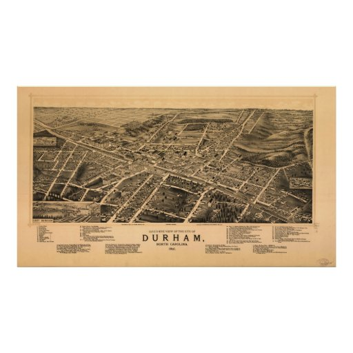 Vintage Pictorial Map of Durham NC (1891) Posters